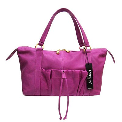 Popcorn Milano Italian Made Magenta Leather Handbag Shoulder Bag - / Clearance /