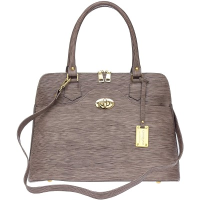 Giordano Italian Made Beige/Brown Stripe Leather Tote Handbag