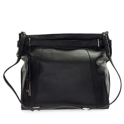 Cromia Italia Made Black Leather Large Carryall Satchel Shoulder Bag