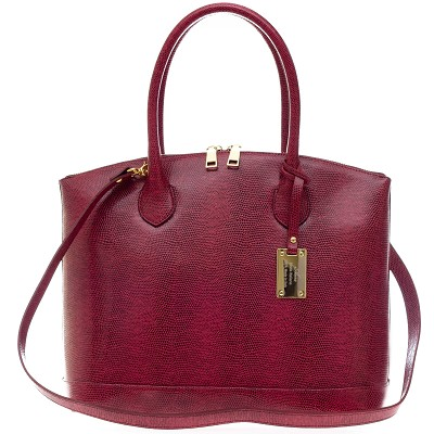 AURA Italian Made Cherry Red Reptile Embossed Leather Tote