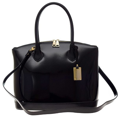 AURA Italian Made Black Patent Leather Tote