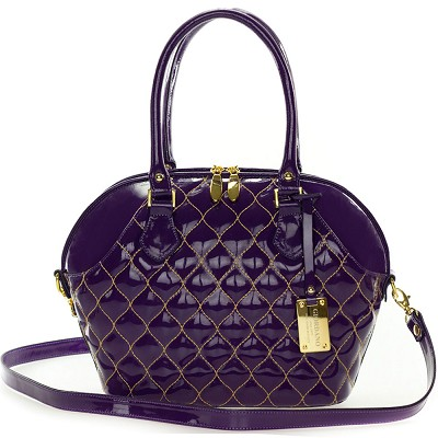 Giordano Italian Made Tote Handbag in Purple Patent Quilted Leather with Gold Stitching
