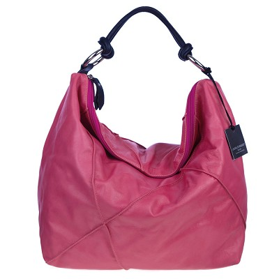 Laura Di Maggio Italian Made Pink Leather Large Shoulder Hobo Bag - / Clearance /