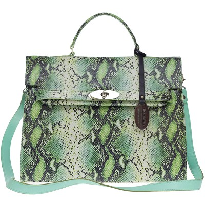 Giordano Italian Made Green Python Embossed Leather Large Structured Handbag