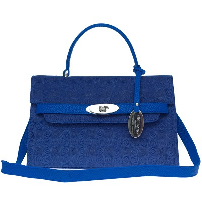 Giordano Italian Made Blue Embossed Leather Small Structured Handbag