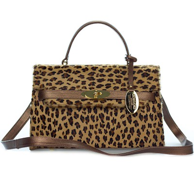 Giordano Italian Made Leopard Print Cowhide and Bronze Leather Small Structured Handbag - / Clearance /