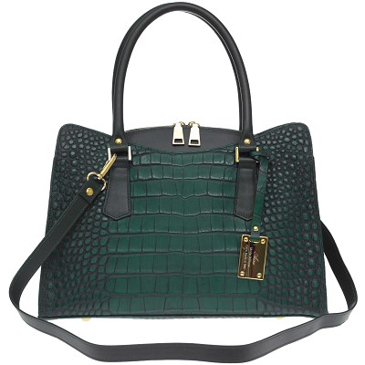 AURA Italian Made Green Crocodile Embossed Leather Tote Handbag