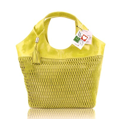 Lazetti Italian Made Yellow Lime Perforated Leather Designer Handbag