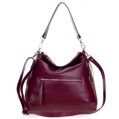 Giordano Italian Made Cherry Red Leather Hobo Bag with Pocket