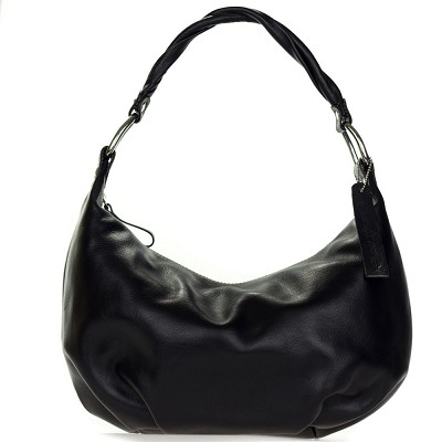 Robe di Firenze Italian Made Black Organically Treated Leather Hobo Bag