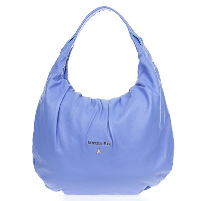 Patrizia Pepe Periwinkle Blue Leather Medium Hobo Bag