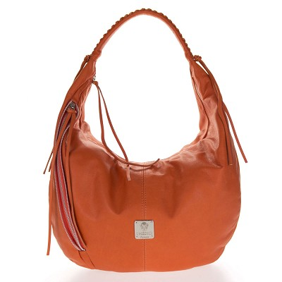 Medichi Italian Made Orange Leather Zip Front Pocket Large Hobo Bag