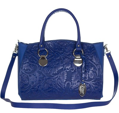 Giordano Italian Made Blue Leather Floral Embossed Leather Carryall Tote - /CLEARANCE/