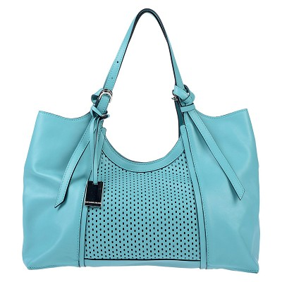 Caterina Lucchi Italian Made Turquoise Blue Leather Carryall Tote