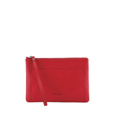 Cromia Italian Made Red Calfskin Leather Cosmetic Bag