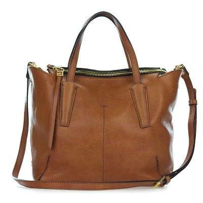 Gianni Chiarini Italian Made Cognac Brown Pebbled Leather Slouchy Tote Bag - / Clearance /