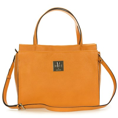 Gianni Chiarini Italian Made Orange Pebbled Leather Carryall Tote Bag with Pocket