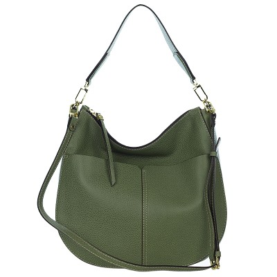 Gianni Chiarini Italian Made Moss Green Pebbled Leather Large Front Pockets Hobo Bag