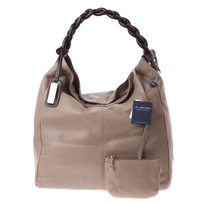 Arcadia Italian Made Taupe Leather Extra Large Hobo Bag With Pouch