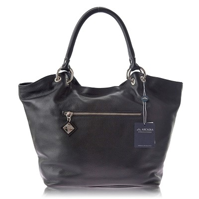 Arcadia Italian Designer Black Leather Tote Handbag