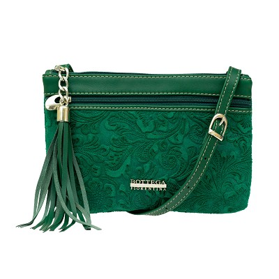 Bottega Fiorentina Italian Made Green Floral Embossed Leather Crossbody Bag