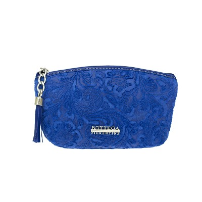 Bottega Fiorentina Italian Made Blue Floral Embossed Leather Cosmetic Case