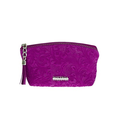 Bottega Fiorentina Italian Made Magenta Floral Embossed Leather Cosmetic Case