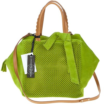 Roberta Gandolfi Italian Made Green Perforated Suede Tote Bag With Bow - / Clearance /