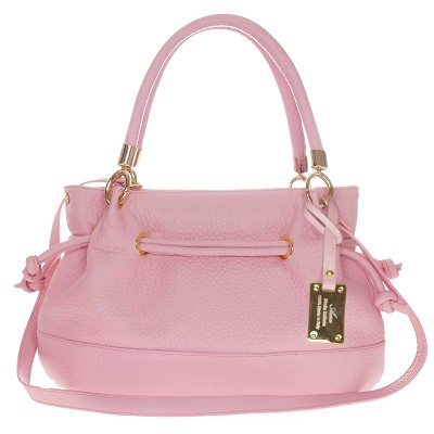 AURA Italian Made Pink Leather Large Drawstring Tote