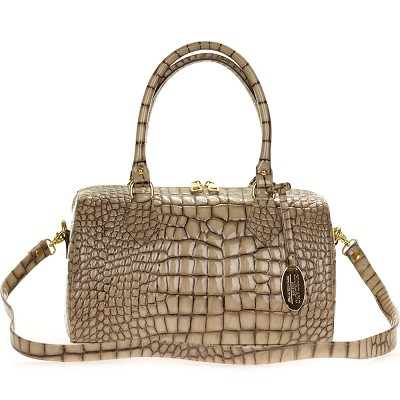 Giordano Italian Made Crocodile Embossed Beige Patent Leather Satchel Bag