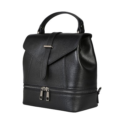 Parentesi Italian Made Black Leather Structured Women's Backpack Bag - / Clearance /