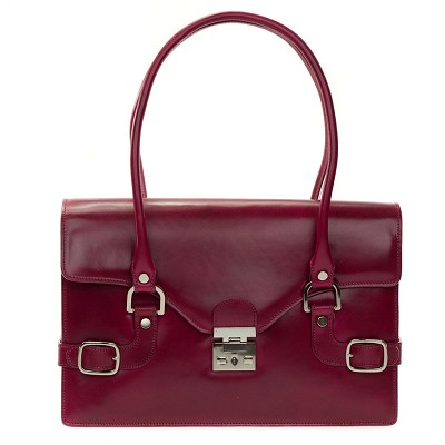 L.A.P.A. Italian Designer Magenta Red Leather Shoulder Bag - / Clearance /