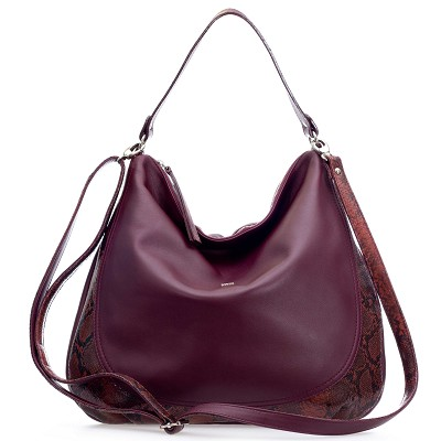 Bruno Rossi Italian Made Burgundy Red Leather Large Hobo Bag with Snakeskin Detail