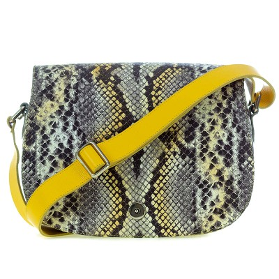 Giordano Italian Made Python Embossed Leather Shoulder Bag