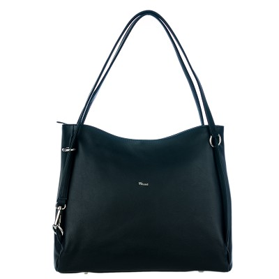 Bruno Rossi Italian Made Black Calf Leather Carryall Tote Bag