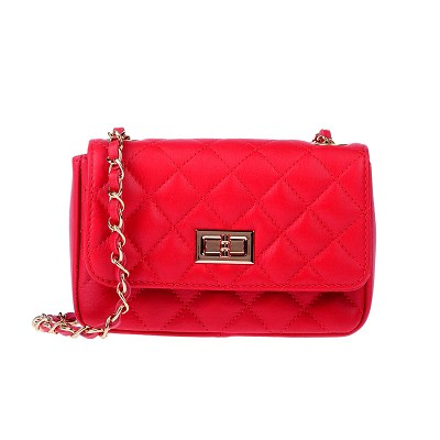Stella Dutti Italian Made Red Quilted Leather Small Evening Bag with Chain Handle